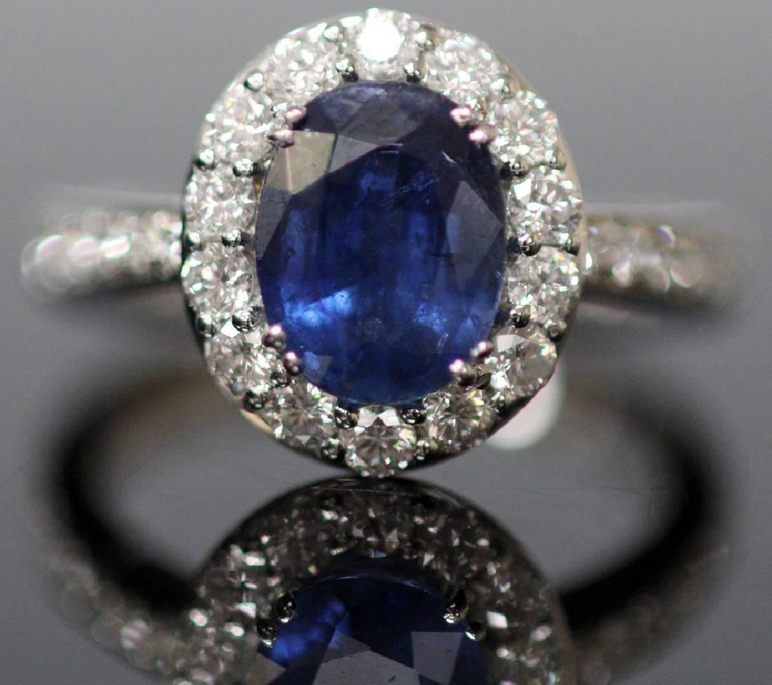 BLUE SAPPHIRE & DIAMOND 18KT GOLD RING