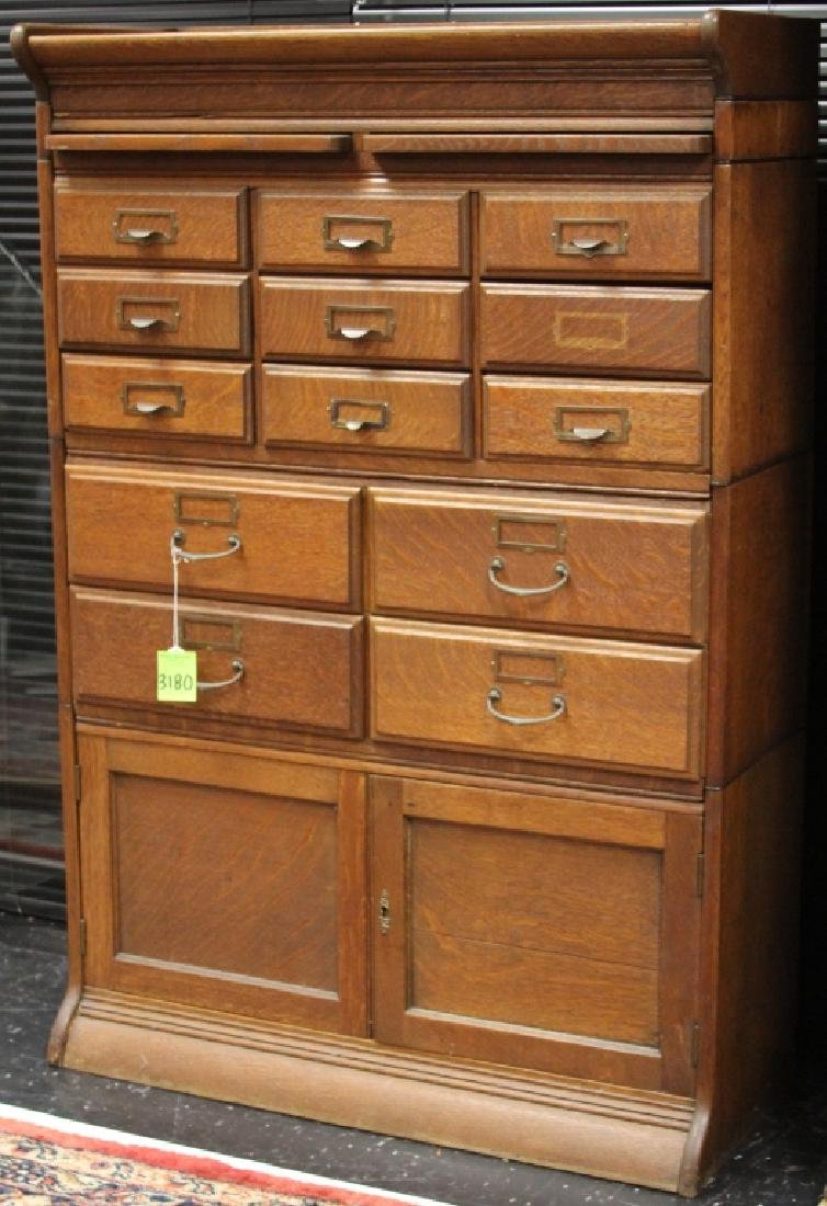 AMERICAN OAK STACKING FILE CABINET, 1900'S