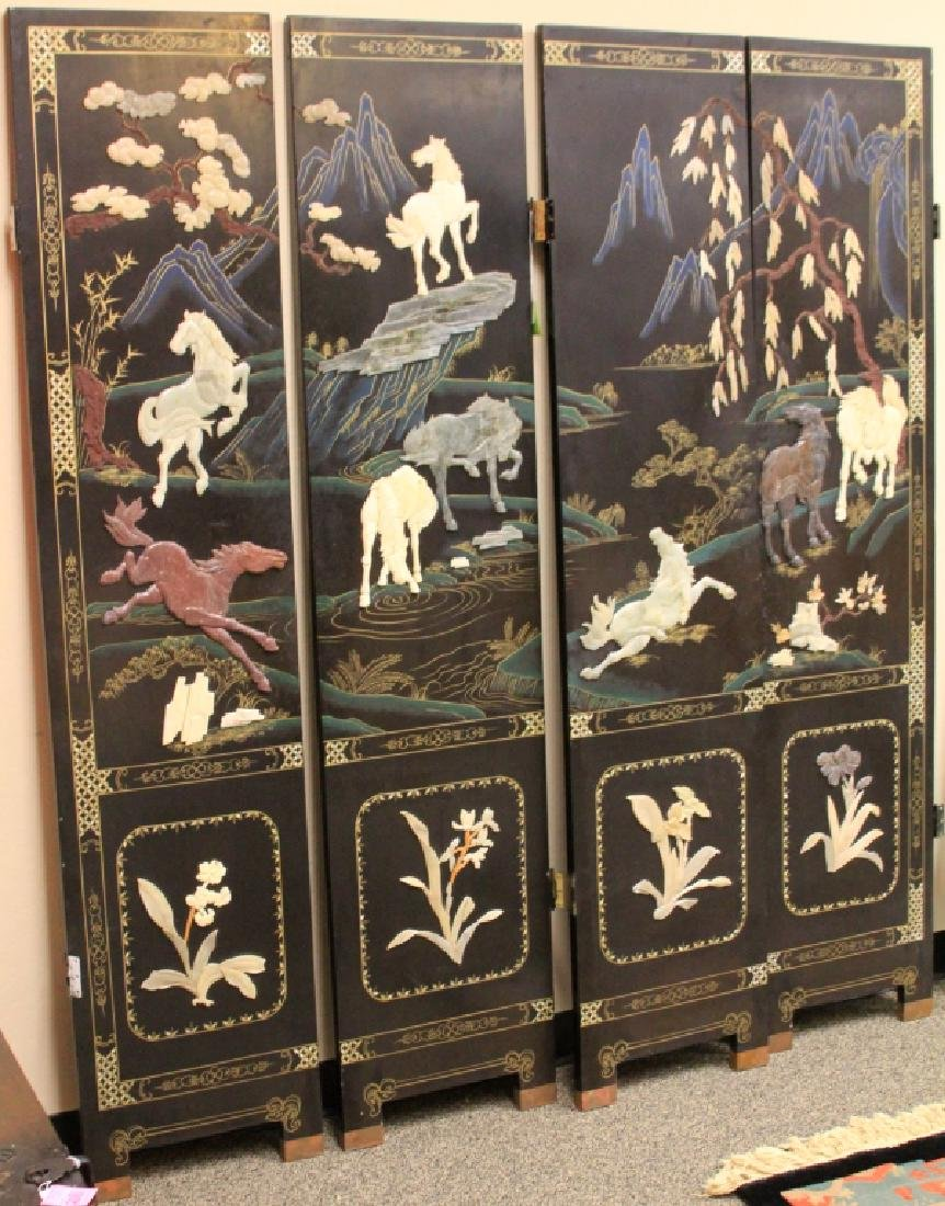 VINTAGE CHINESE CARVED FOUR PANEL SCREEN
