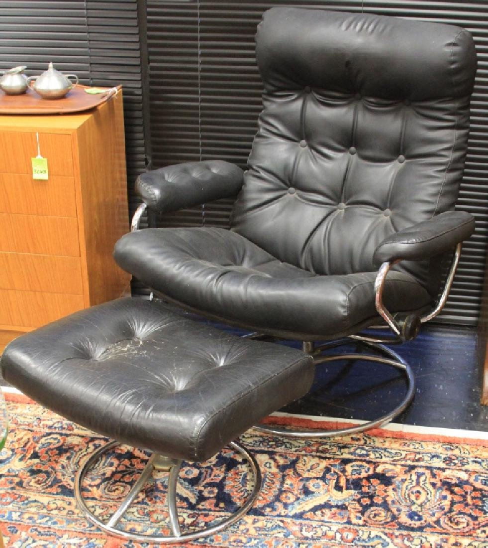 MID-CENTURY NORWEGIAN LEATHER CHAIR & OTTOMAN