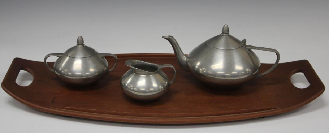 MID-CENTURY DANISH PEWTER & TEAK TEA SERVICE