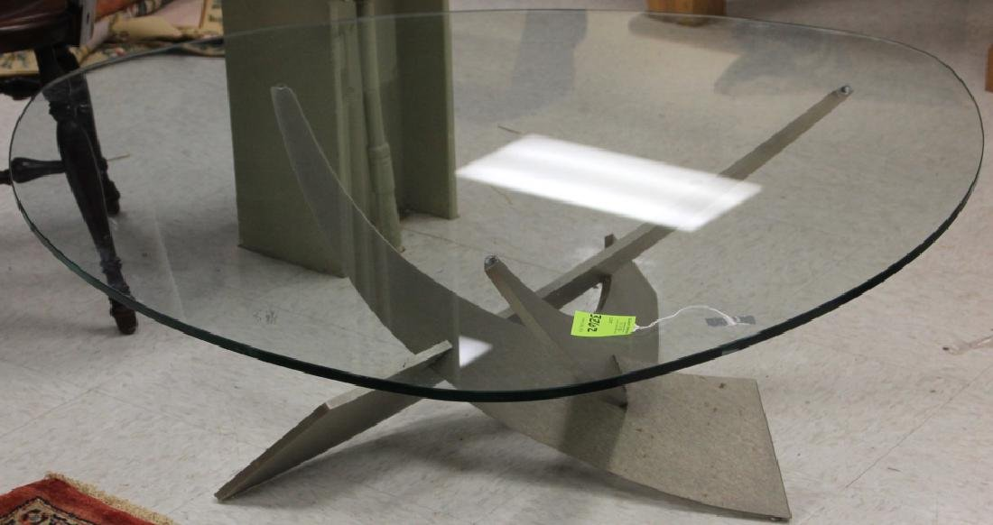 MODERN STEEL AND GLASS COFFEE TABLE