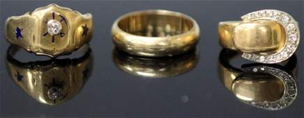LOT OF 3 VINTAGE 14KT GOLD RINGS 2 W DIAMOND
