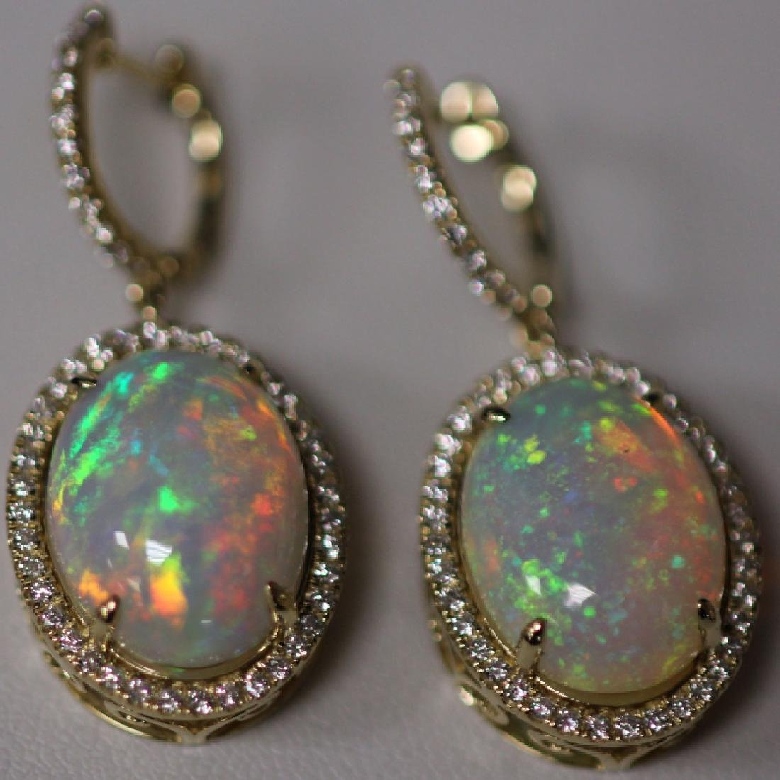 PAIR OF LADY'S OPAL DIAMOND 14KT EARRINGS