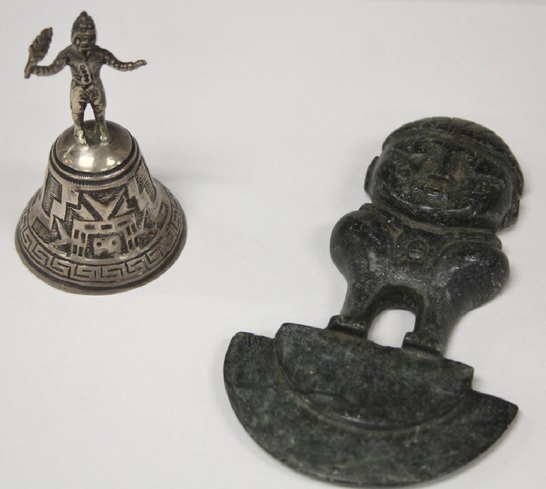 LOT OF (2) SOUTH AMERICAN: CARVING & SILVER BELL