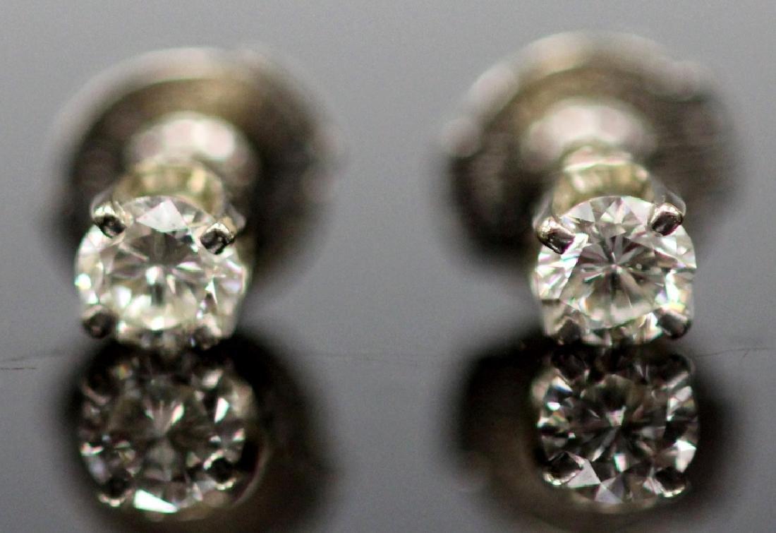 DIAMOND & STERLING SILVER  STUD EARRINGS