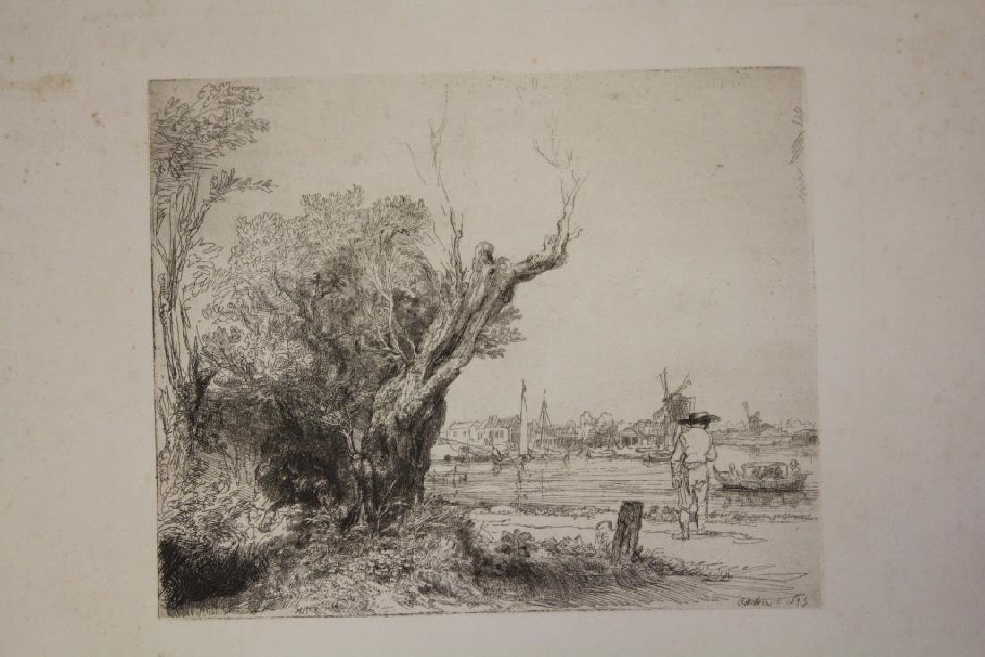 REMBRANDT ETCHING, FIGURE WITH LANDSCAPE