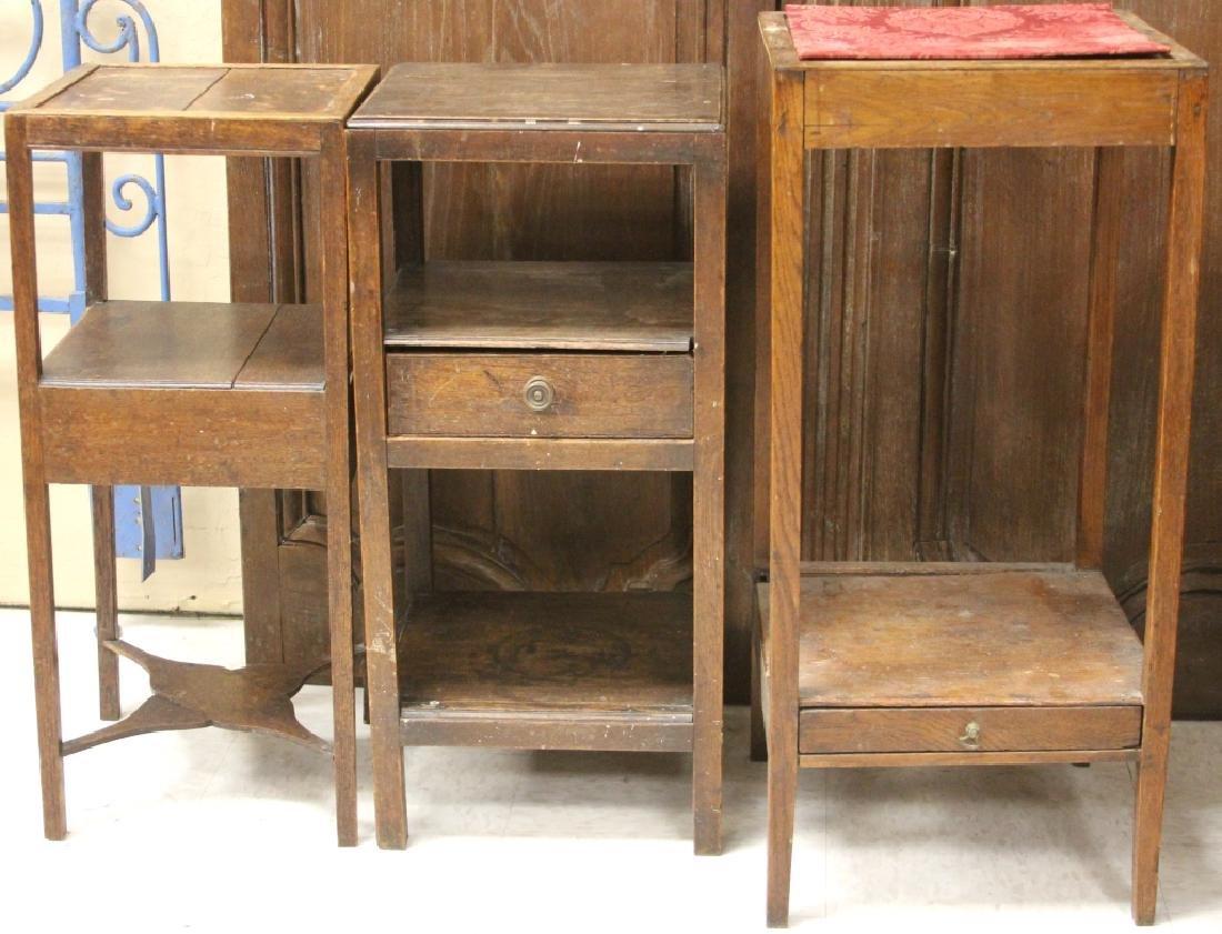 LOT OF (3) 19TH C. OAK SIDE TABLES