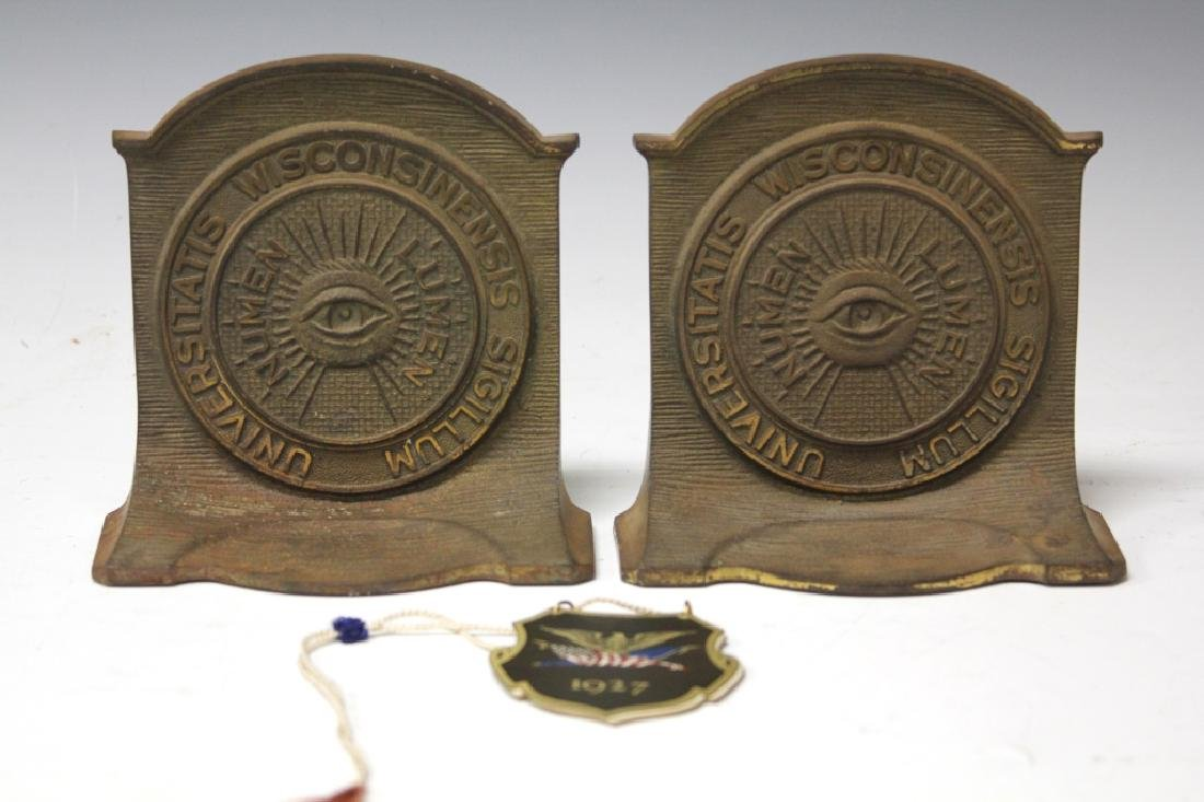 LOT OF (2) MASONIC BOOKENDS & 1927 MILITARY LIST