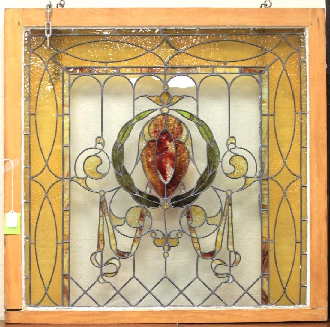 MODERN STAIN GLASS WINDOW, FRAMED