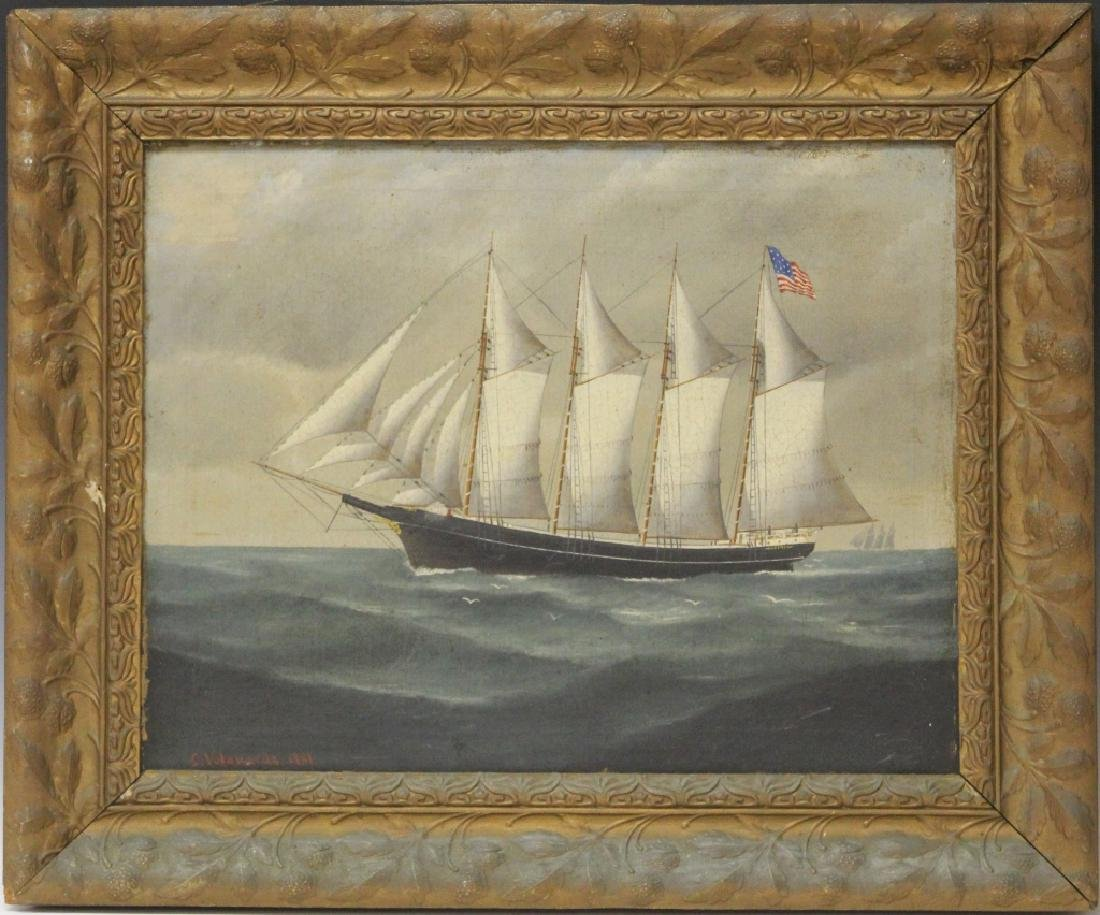 C. VOLAHARDS, OIL ON CANVAS OF AMERICAN SHIP, 1901