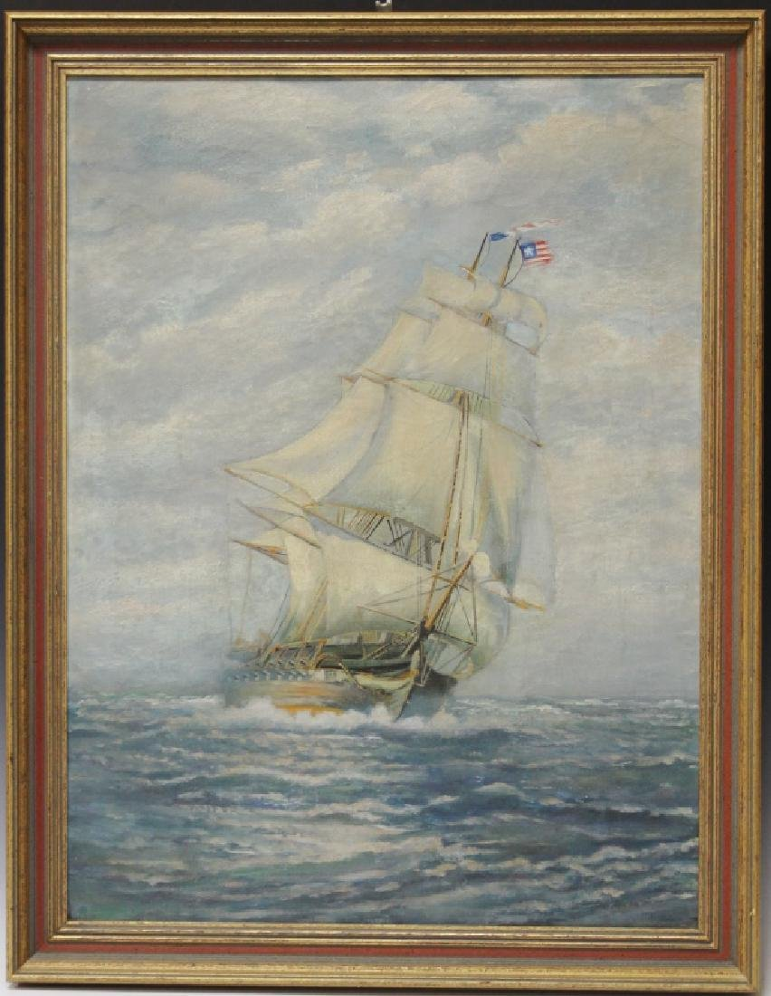 EARLY 20TH CENTURY OIL ON CANVAS OF AMERICAN SHIP
