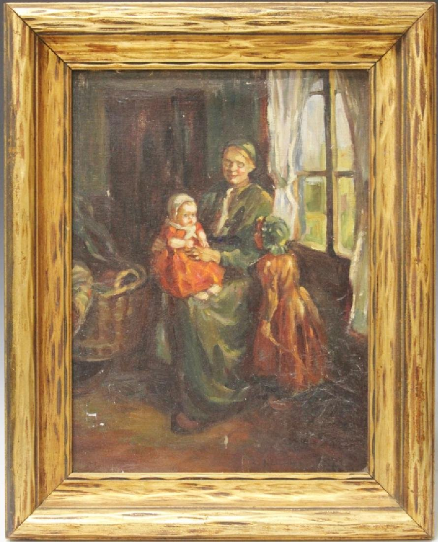 19TH CENTURY OIL ON BOARD, DUTCH INTERIOR SCENE