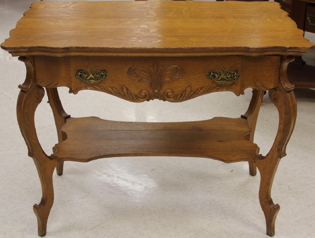 AMERICAN CARVED OAK LIBRARY TABLE WITH DRAWER