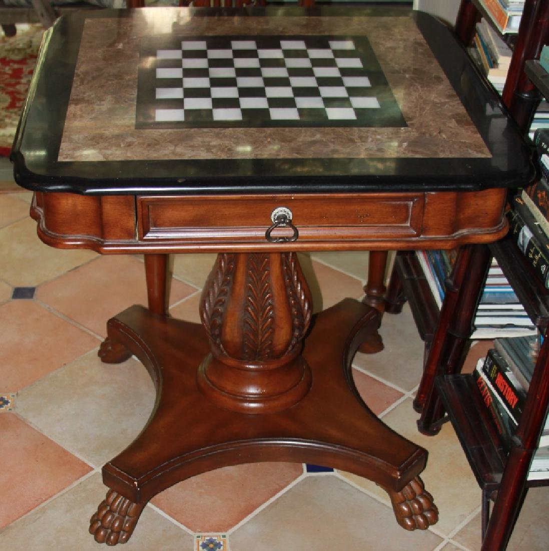 PIETRA DURA INLAID MARBLE & ONYX GAMES TABLE