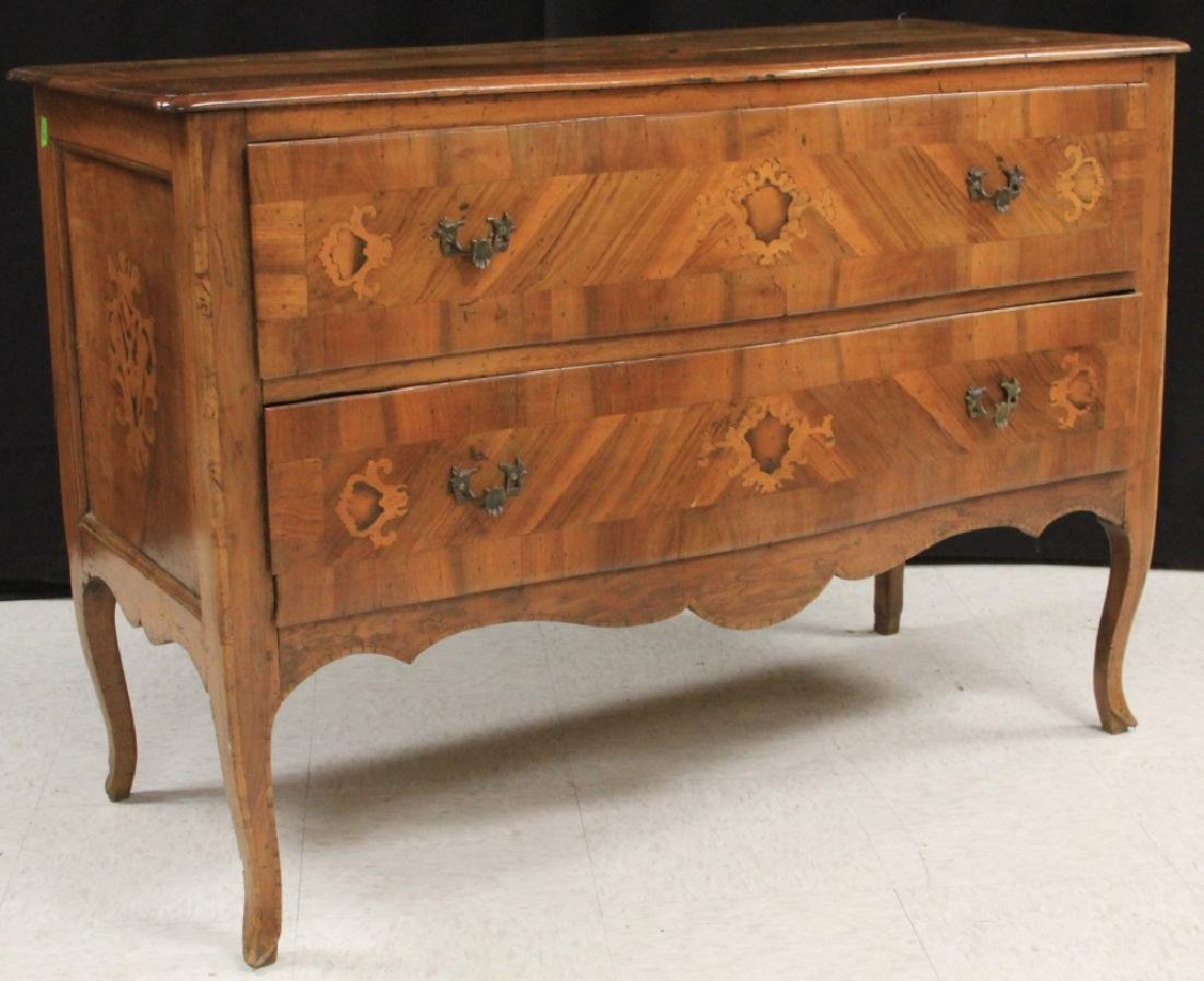 18TH C. ITALIAN INLAID BOMBAY FRONT COMMODE