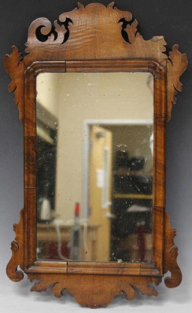 18TH C. WALNUT CHIPPENDALE WALL MIRROR