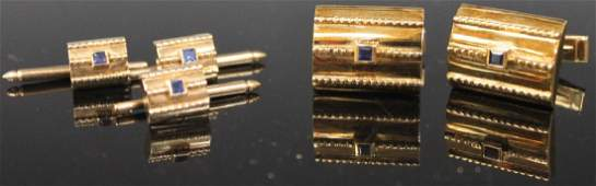 VINTAGE SAPPHIRE 14KT GOLD CUFF LINK SET 27 GRAMS