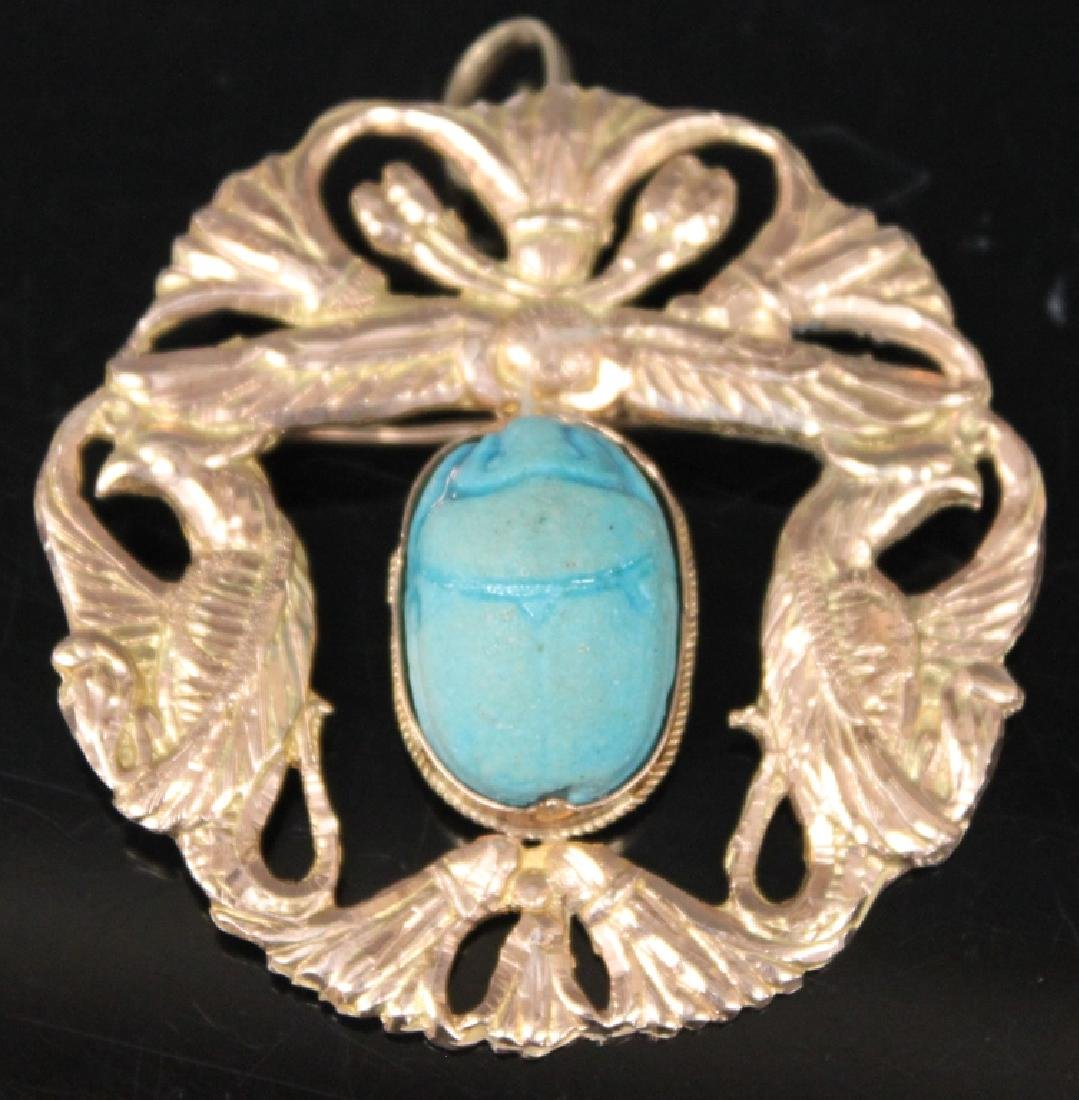 LADY'S 14KT GOLD PIN W/ SCARAB CARVING, 14 GRAMS