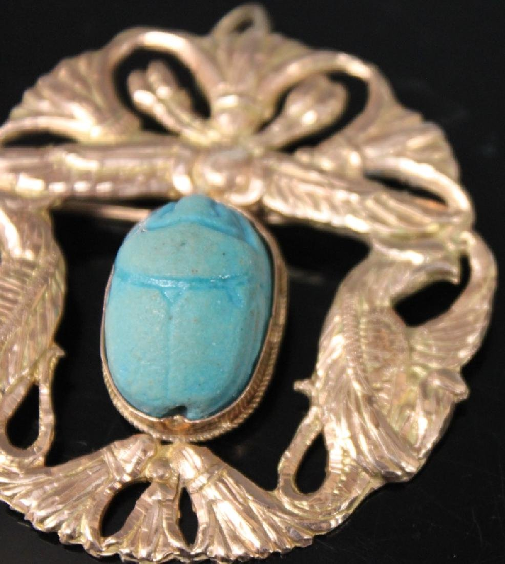 LADY'S 14KT GOLD PIN W/ SCARAB CARVING, 14 GRAMS - 4