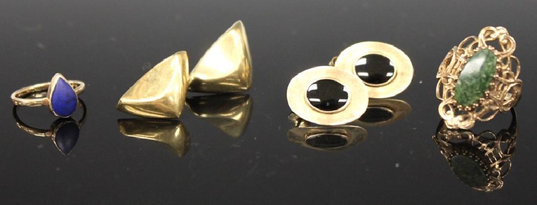 LOT OF (4) 14KT-10KT: RINGS & EARRINGS, 11.6 GRAMS