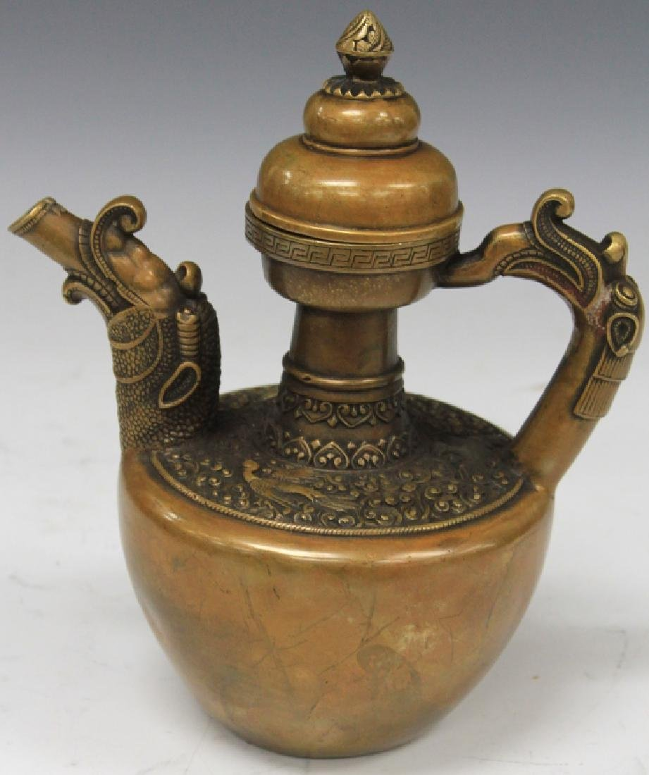 """CHINESE CAST METAL PITCHER, 9"""" H - 2"""