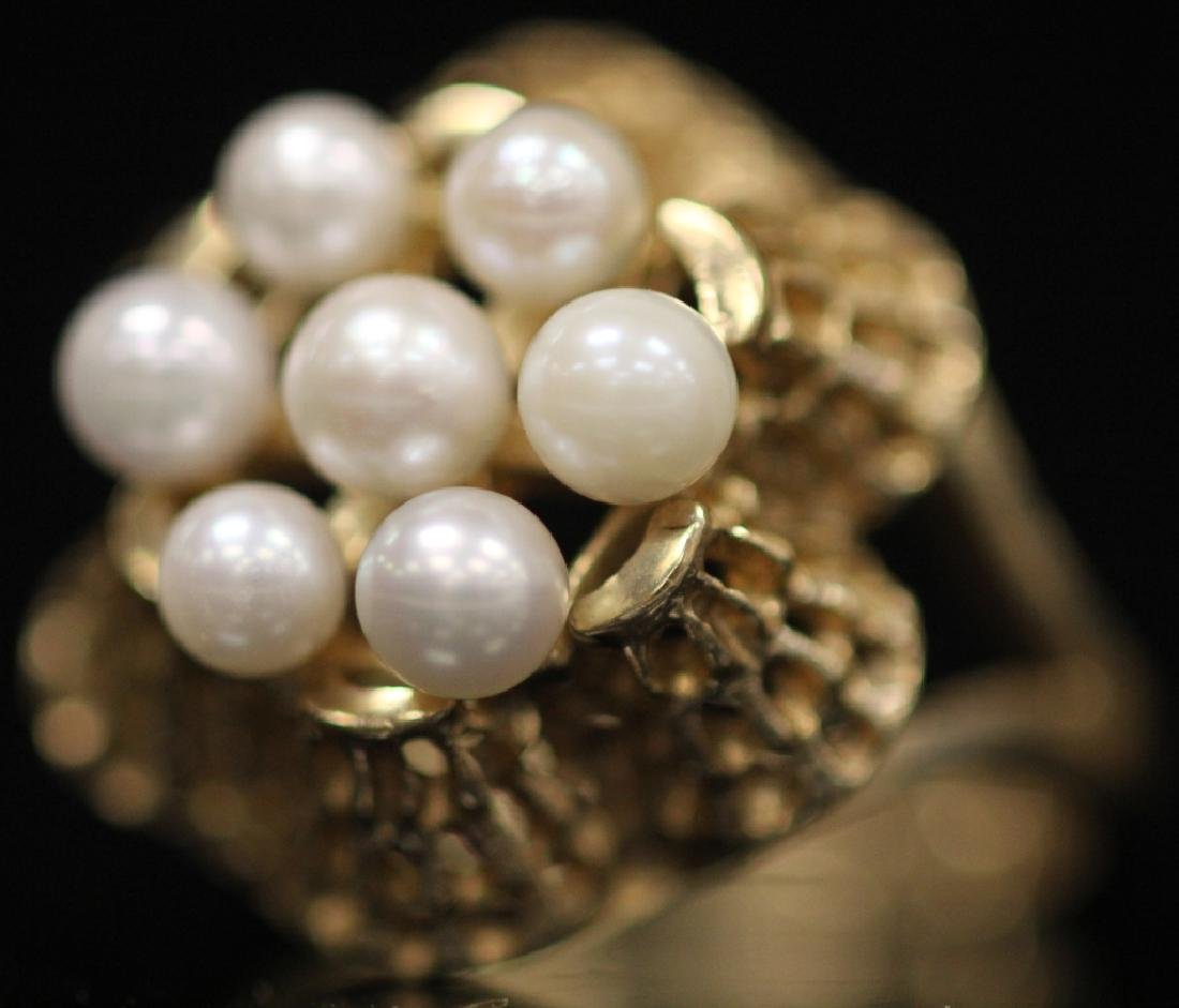 LOT OF (3) 10KT GOLD LADY'S RINGS: (1) W/ PEARLS - 7