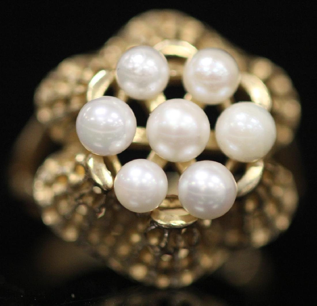 LOT OF (3) 10KT GOLD LADY'S RINGS: (1) W/ PEARLS - 8