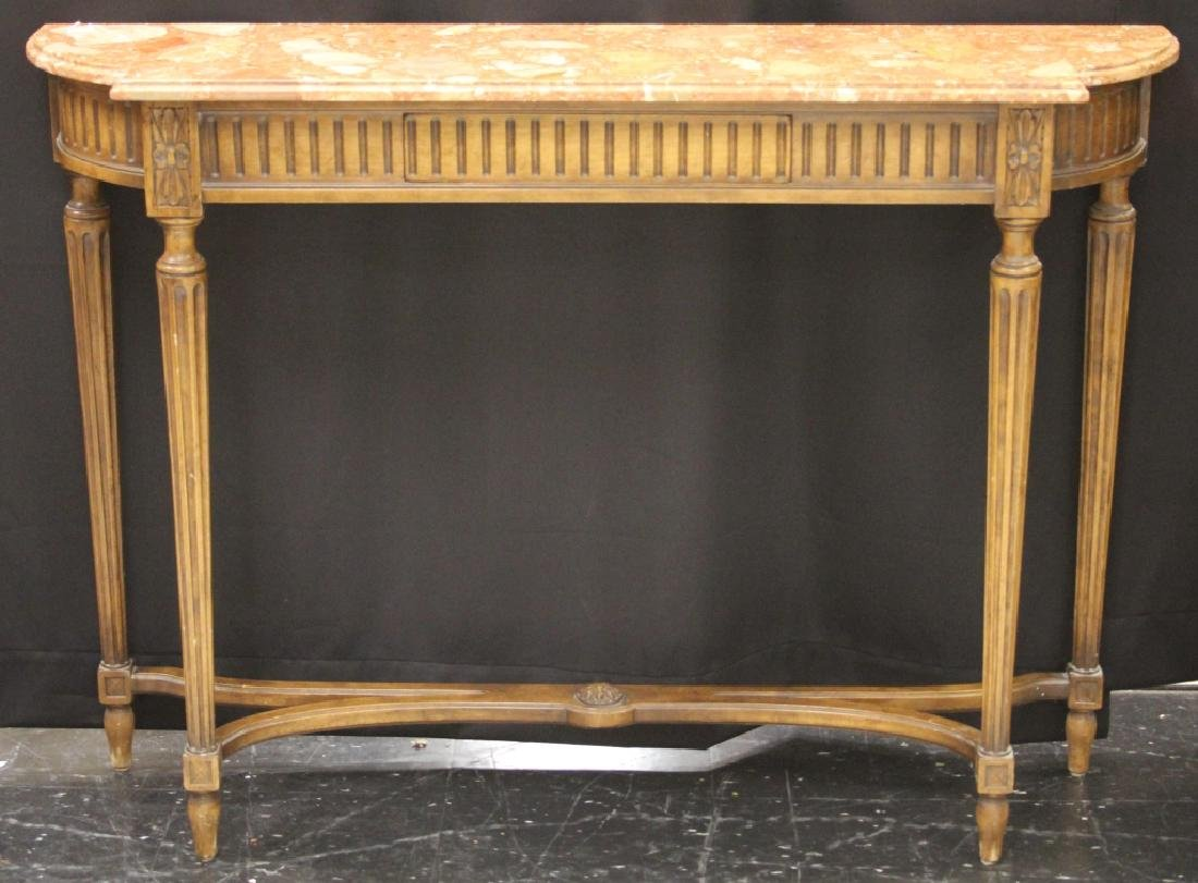 VINTAGE ITALIAN MARBLE TOP CONSOLE TABLE