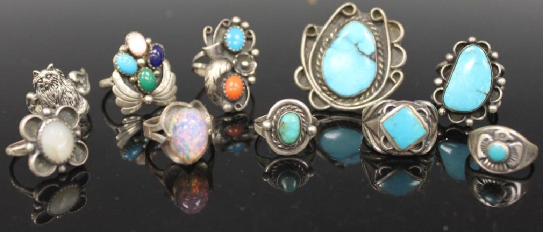 LOT OF (10) NATIVE AMERICAN SILVER JEWELRY