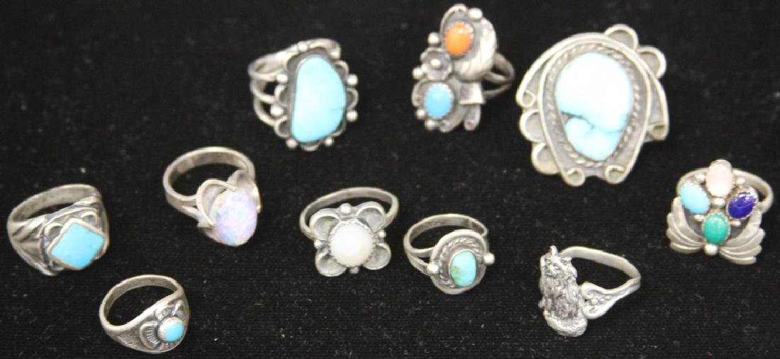 LOT OF (10) NATIVE AMERICAN SILVER JEWELRY - 2