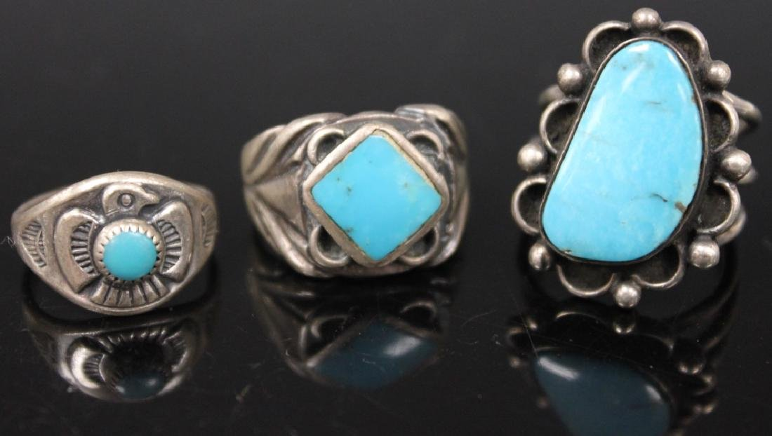 LOT OF (10) NATIVE AMERICAN SILVER JEWELRY - 7