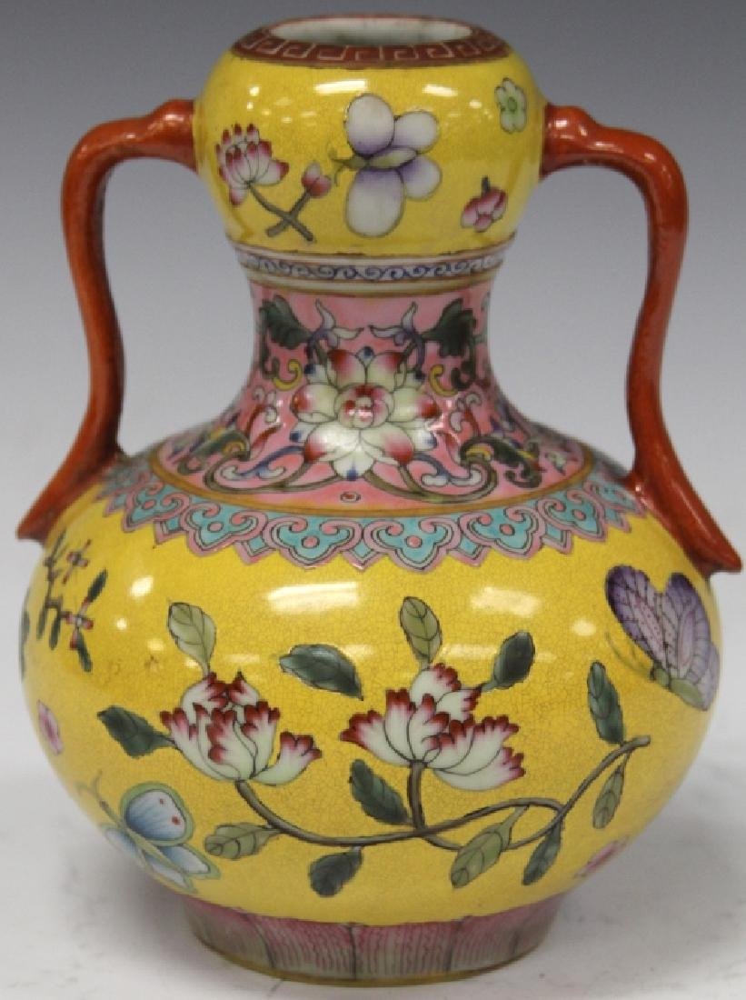 """CHINESE PAINTED DOUBLE HANDLED VASE, 7"""" H"""