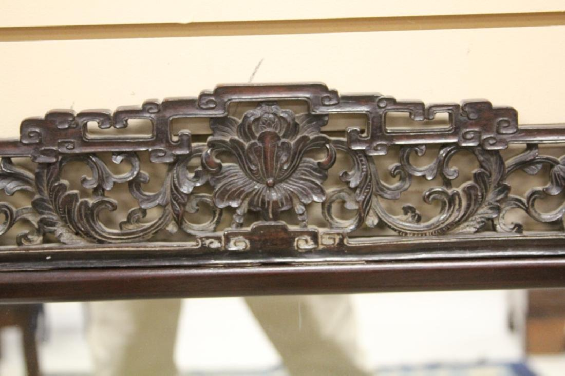 CHINESE CARVED ROSEWOOD MIRROR - 2
