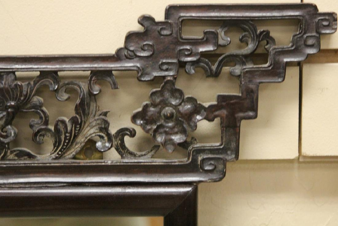 CHINESE CARVED ROSEWOOD MIRROR - 3