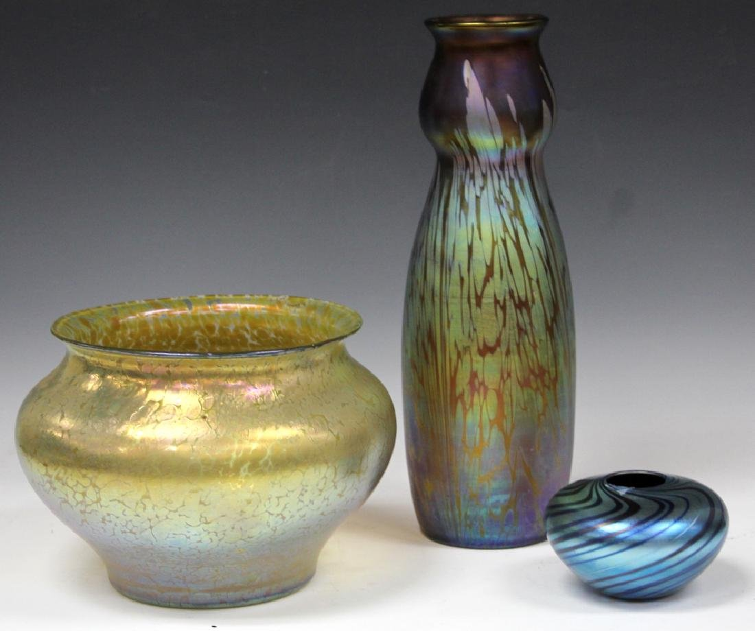 LOT OF (3) ART GLASS VASES
