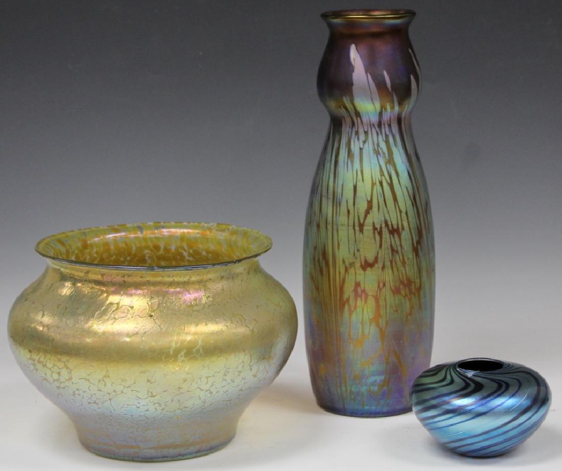 LOT OF (3) ART GLASS VASES - 2