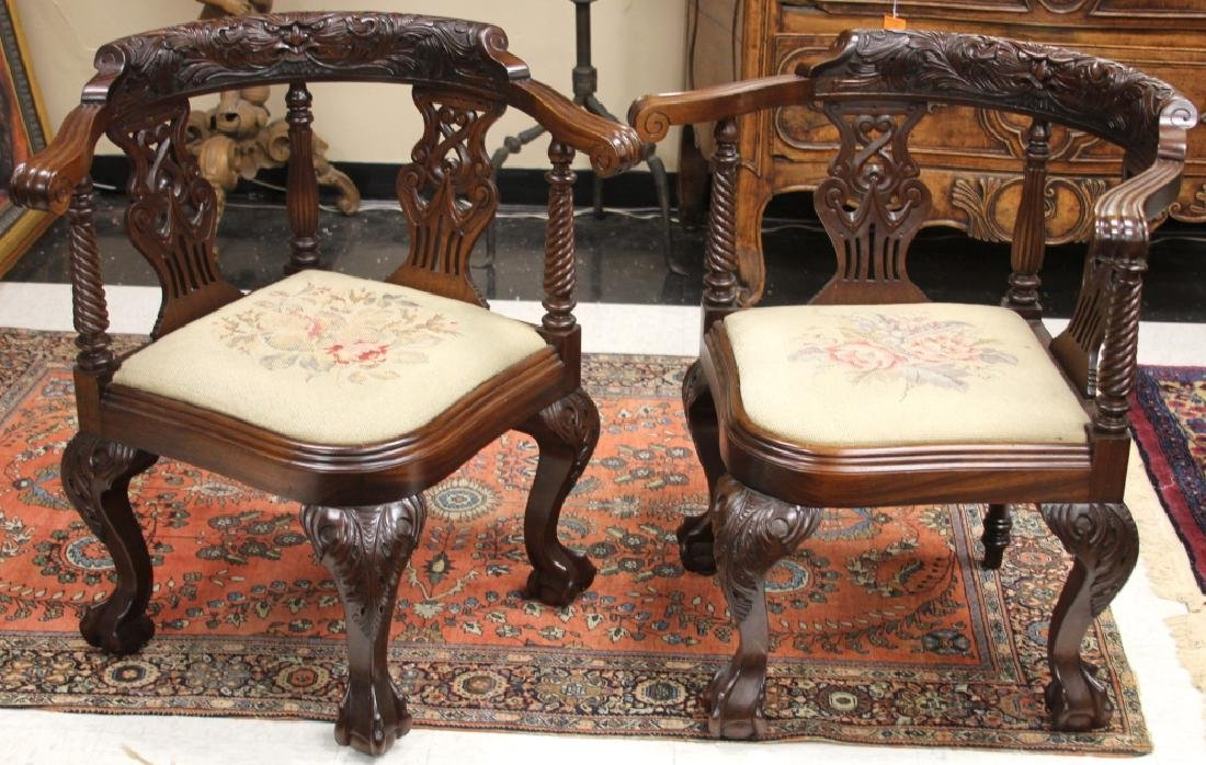 PAIR OF 19TH C. CHIPPENDALE CARVED MAHOGANY CHAIRS