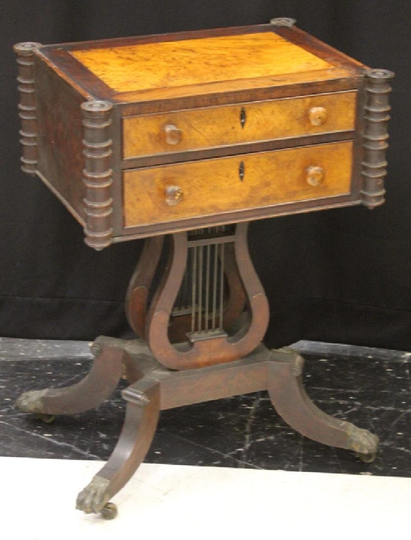 19TH C. SEWING TABLE WITH BURL WALNUT TOP