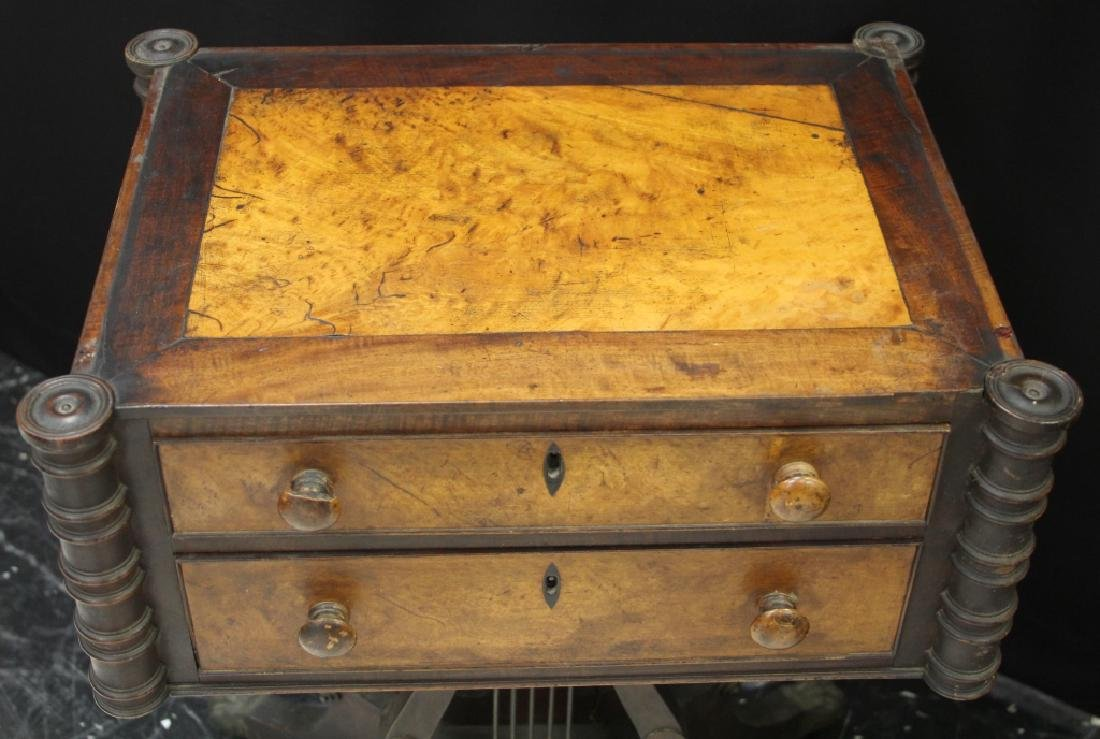 19TH C. SEWING TABLE WITH BURL WALNUT TOP - 2