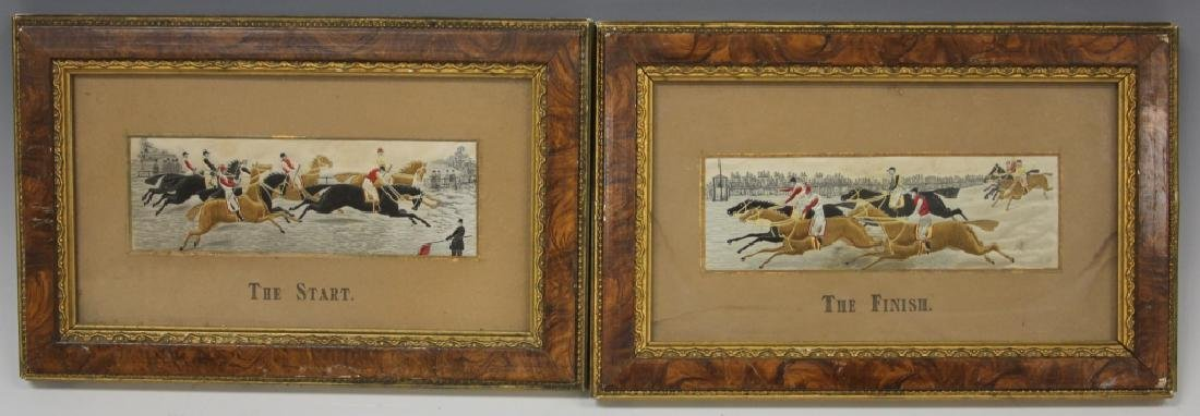 PAIR OF 19TH C. HORSE RACING WEAVINGS