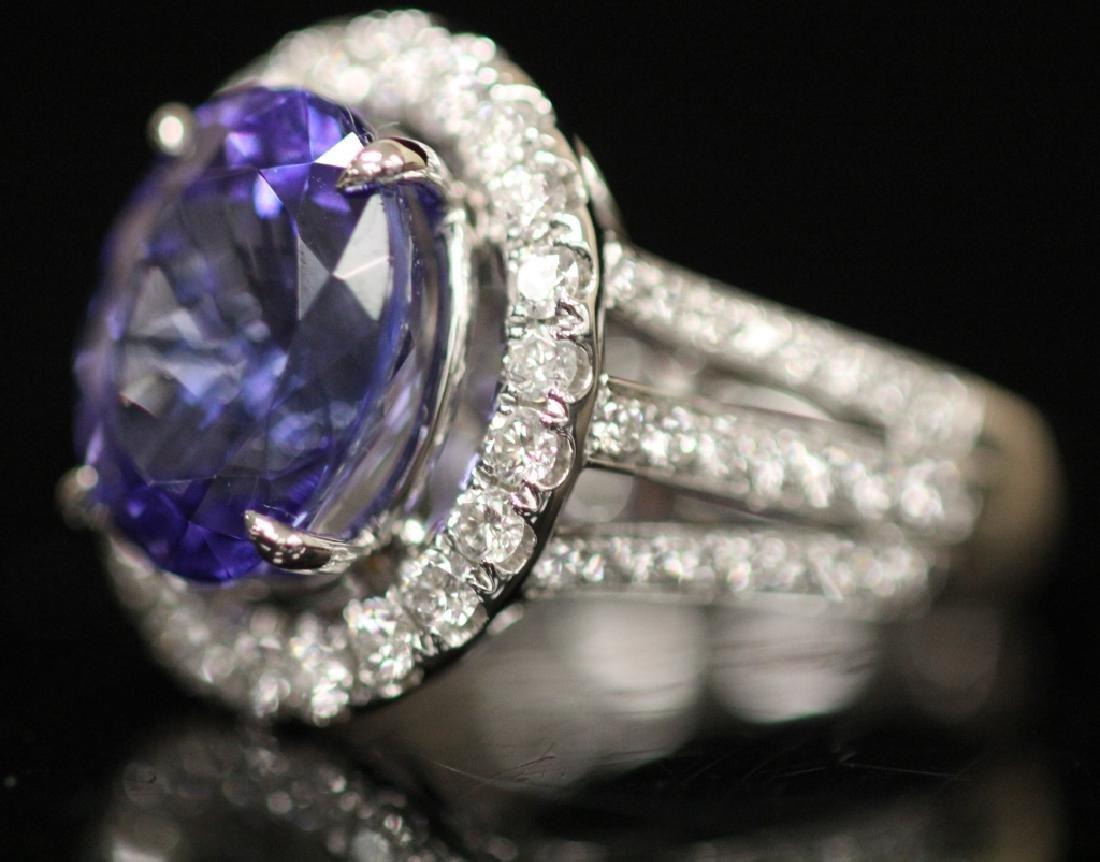 LADY'S TANZANITE & DIAMOND RING - 2