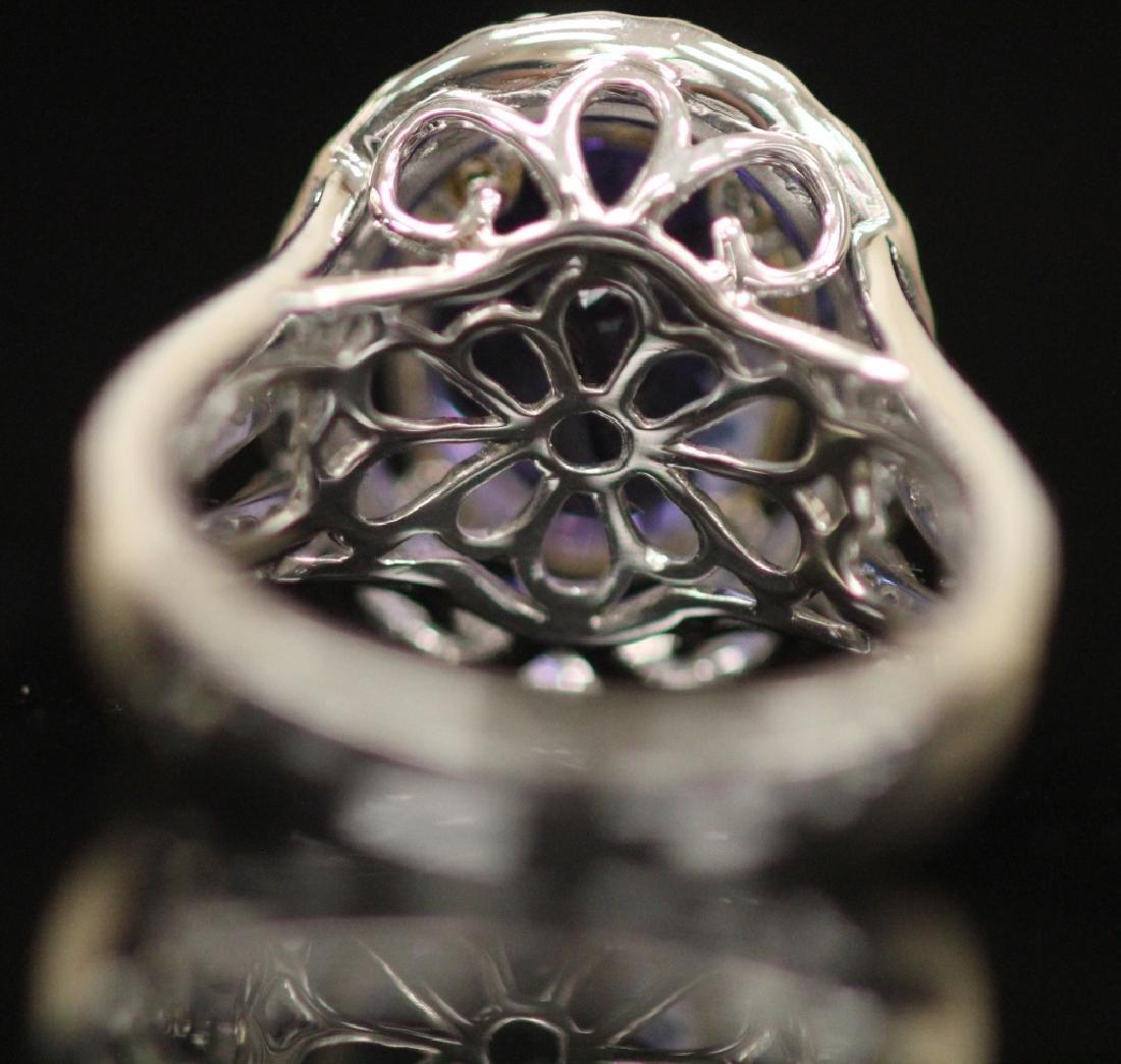 LADY'S TANZANITE & DIAMOND RING - 4