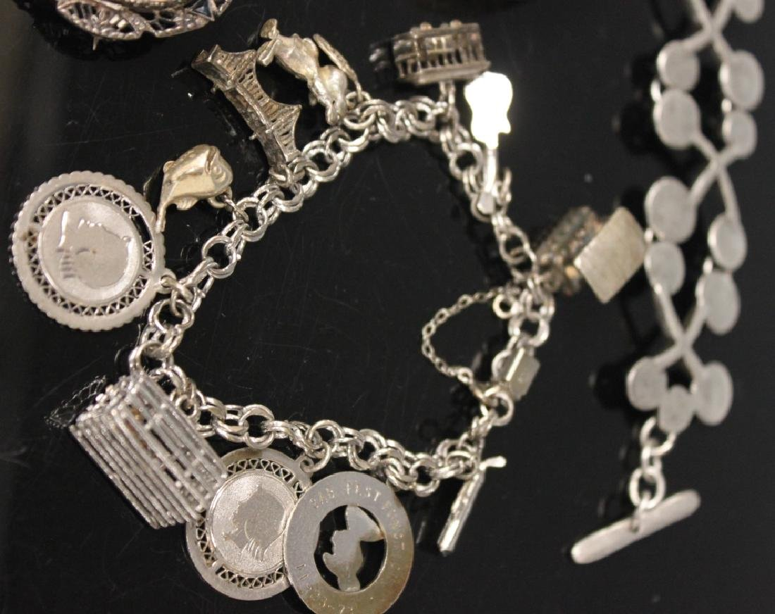 LOT OF (8) VINTAGE JEWELRY, INCL. SILVER - 3
