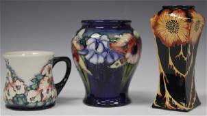 LOT OF (3) MOORCROFT ART POTTERY: VASES & CUP