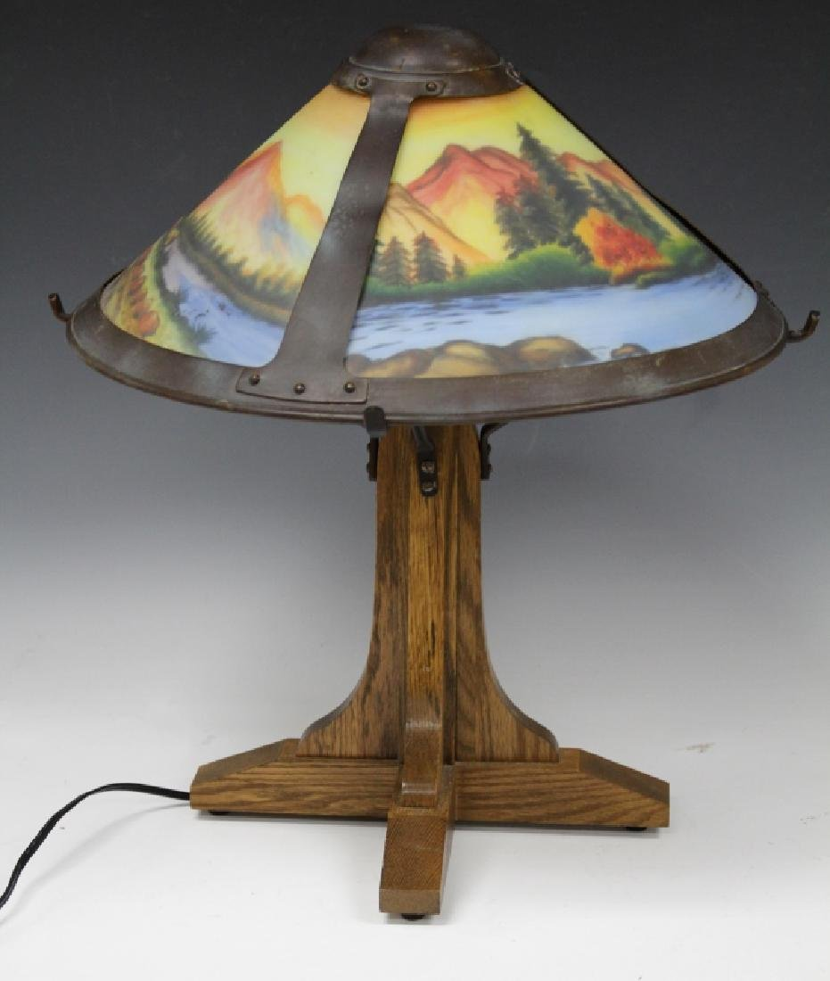 AMERICAN LAMP W/ ARTS & CRAFTS STYLE PAINTED SHADE