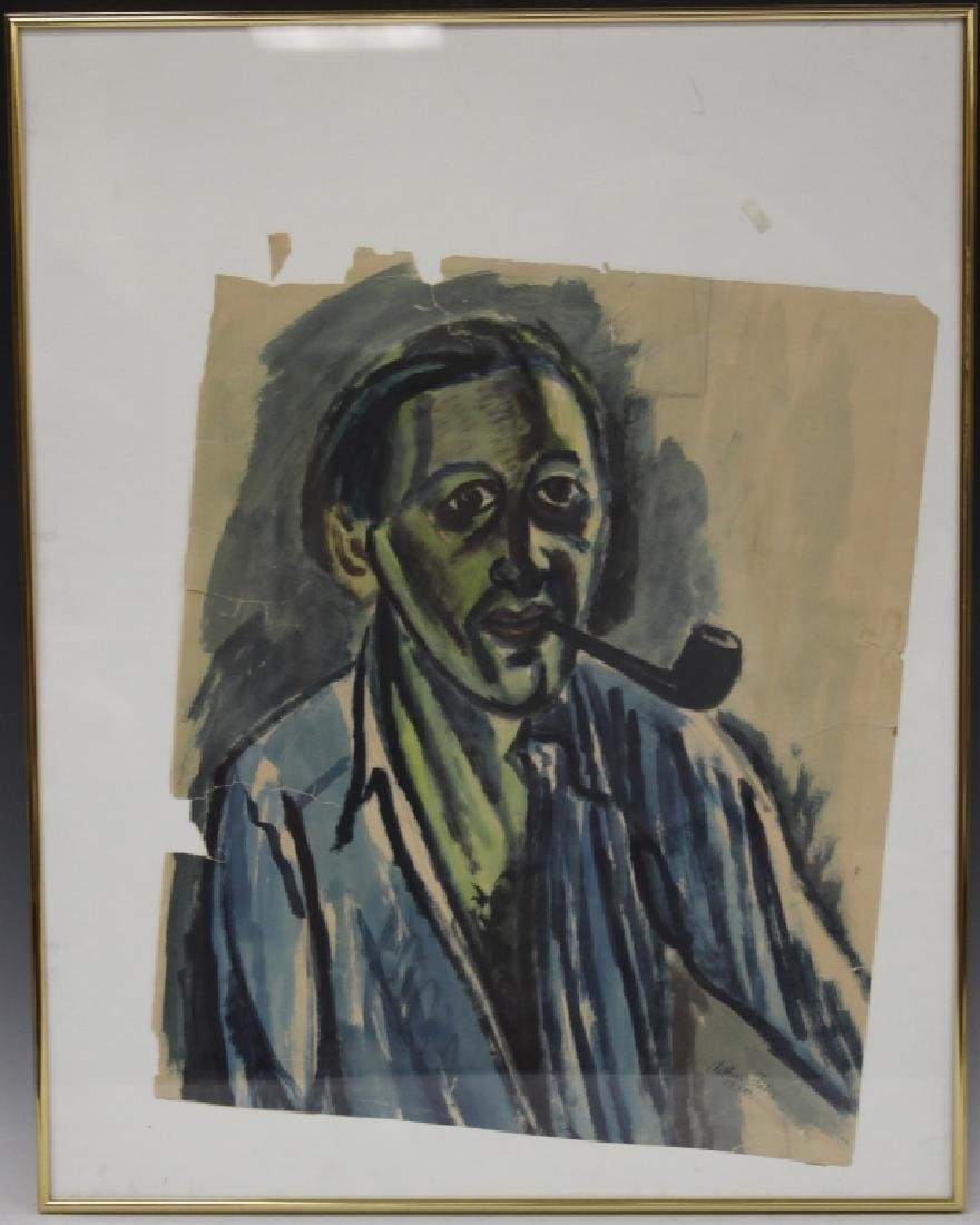 ARHTUR FABER (B. 1898), WATERCOLOR SELF PORTRAIT