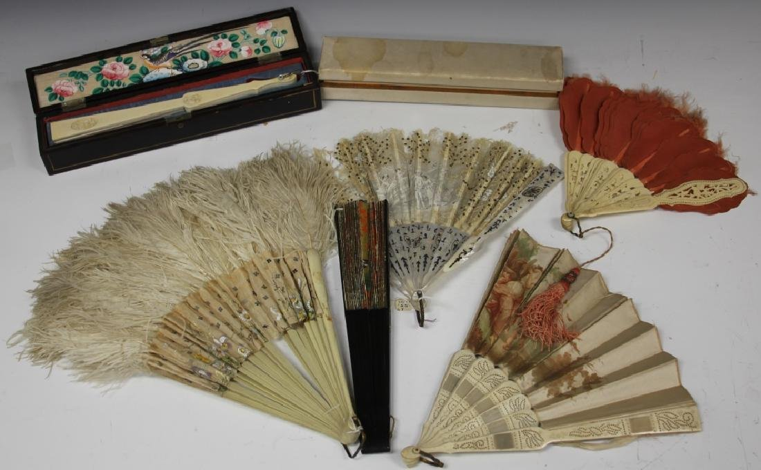 LOT OF (6) VINTAGE FRENCH FANS, SOME 19TH C.