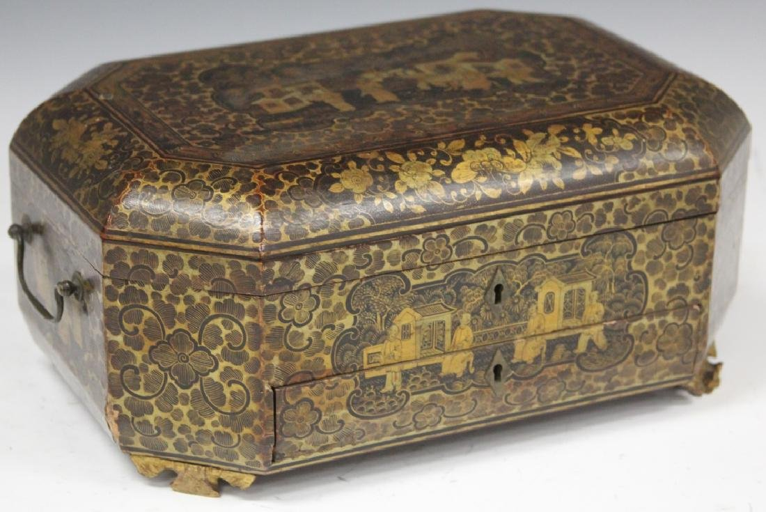 18TH C. CHINESE EXPORT PAINTED DOCUMENT BOX