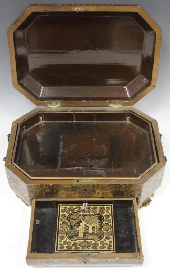 18TH C. CHINESE EXPORT PAINTED DOCUMENT BOX - 2